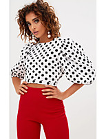 cheap -women's beach slim t-shirt - polka dot crew neck