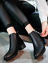 abordables -Femme Chaussures Polyuréthane Hiver Confort Bottes Talon Bottier Noir / Vin