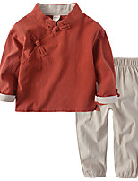 cheap -Kids Unisex Solid Colored Long Sleeve Clothing Set