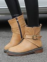 Недорогие -Жен. Обувь Полиуретан Зима Удобная обувь Ботинки На низком каблуке Черный / Серый / Желтый