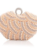 cheap -Women's Bags Polyester Evening Bag Crystals / Pearls White / Black / Almond
