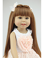 cheap -NPKCOLLECTION Fashion Doll Country Girl 18 inch Full Body Silicone / Silicone - Artificial Implantation Brown Eyes Kid's Girls' Gift