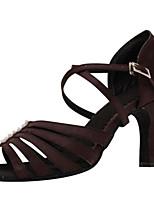 economico -Per donna Scarpe per balli latini Raso Tacchi Tacco alto sottile Scarpe da ballo Caffè / Prestazioni / Di pelle / Da allenamento