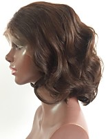 cheap -Remy Human Hair Lace Front Wig Brazilian Hair Wavy Bob Haircut / Short Bob 150% Density With Baby Hair / Middle Part Bob Black Short