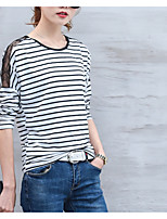 cheap -Women's Basic T-shirt - Striped Cut Out