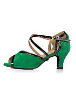 cheap -Women's Latin Shoes Synthetics Sneaker Splicing Cuban Heel Dance Shoes Green