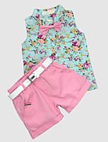 Недорогие -Дети Мальчики Цветочный принт Без рукавов Набор одежды
