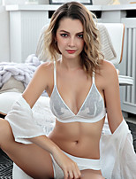 cheap -Women's 3/4 Cup Bras & Panties Sets Push-up / Wireless / Lace Bras - Floral / Jacquard / Embroidered