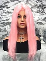 Недорогие -Remy Лента спереди Парик Перуанские волосы Прямой Парик 130% Природные волосы / С отбеленными узлами Жен. Длинные Парики из натуральных волос на кружевной основе
