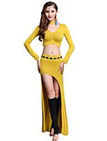 abordables -Danza del Vientre Accesorios Mujer Entrenamiento Modal Separado Manga Larga Cintura Baja Faldas / Top