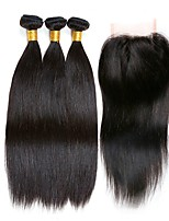 cheap -Peruvian Hair Straight Natural Color Hair Weaves / Human Hair Extensions / Hair Weft with Closure 3 Bundles With  Closure 8-22 inch Human Hair Weaves 4x4 Closure Fashionable Design / Best Quality