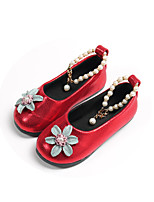 cheap -Girls' Shoes PU(Polyurethane) Spring & Summer Comfort / Flower Girl Shoes Flats Walking Shoes Pearl / Flower for Teenager Black / Red / Pink