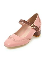 cheap -Women's Shoes Faux Leather Fall & Winter Basic Pump Heels Chunky Heel Square Toe Buckle Beige / Yellow / Pink