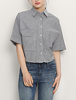 cheap -Women's Vintage Blouse - Solid Colored / Striped Black & White, Tassel