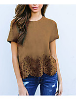 cheap -Women's Basic Cotton Slim T-shirt - Solid Colored Cut Out / Ruffle / Summer