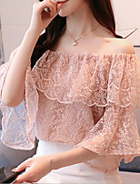 cheap -Women's Going out Vintage Petal Sleeves Cotton Slim Blouse - Solid Colored Lace Boat Neck