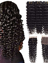 cheap -Brazilian Hair Wavy One Pack Solution PVC Bag 8-24 inch Human Hair Weaves Machine Made Extention Natural Black Human Hair Extensions Women's