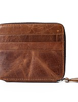 cheap -Men's Bags Cowhide Wallet Buttons Coffee