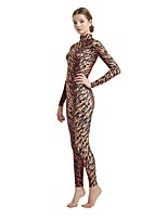 cheap -Patterned Zentai Suits / Cosplay Costume Zentai Cosplay Costumes Brown / Dark Brown Leopard / Animal Fur Pattern Spandex Lycra / Elastic Unisex Halloween / Carnival / Masquerade