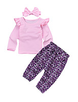 cheap -Baby Girls' Active Going out Solid Colored Long Sleeve Cotton Clothing Set / Toddler