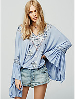 cheap -Women's Shirt - Solid Colored Embroidered