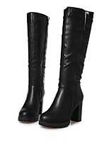 abordables -Mujer Zapatos PU Invierno Confort Botas Tacón Cuadrado Negro