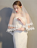 cheap -Two-tier Mesh / Headpieces / Accent / Decorative Wedding Veil Fingertip Veils 53 Fringe / Splicing 31.5 in (80cm) POLY / Lace / Tulle