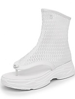cheap -Women's Shoes Mesh Spring & Summer Comfort / Fashion Boots Boots Flat Heel Open Toe Mid-Calf Boots Buckle White / Black