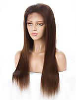 Недорогие -Remy Лента спереди Парик Бразильские волосы Прямой 130% плотность С отбеленными узлами Длинные Жен. Парики из натуральных волос на