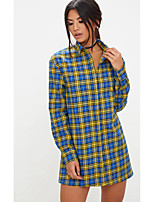 cheap -women's holiday / going out loose shirt - plaid stand
