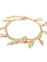 abordables -Long Bracelet de cheville - Forme de Feuille Doux, Mode Or / Argent Pour Ecole / Sortie / Femme