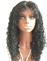 cheap -Remy Human Hair Lace Front Wig Wig Brazilian Hair Curly Layered Haircut 150% Density With Baby Hair / Natural Hairline Black Women's Short / Long / Mid Length Human Hair Lace Wig