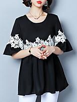 abordables -blusa de mujer - cuello redondo de color sólido