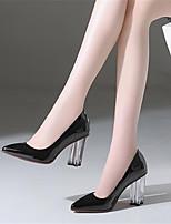 abordables -Mujer Zapatos Cuero Primavera verano Pump Básico Tacones Tacón Cuadrado Dedo Puntiagudo Negro / Wine
