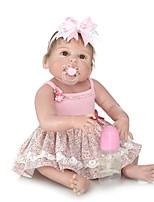 Недорогие -NPKCOLLECTION Куклы реборн Девочки 24 дюймовый Полный силикон для тела / Силикон / Винил - Искусственная имплантация Коричневые глаза Детские Девочки Подарок