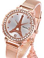 abordables -Femme Montre Bracelet Chinois Montre Décontractée Alliage Bande Tour Eiffel / Mode Argent / Doré / Or Rose