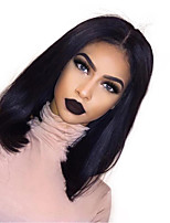 cheap -Remy Human Hair Lace Front Wig Brazilian Hair / Eurasian Hair Straight Bob Haircut 150% Density Natural Hairline / African American Wig