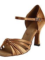 cheap -Women's Latin Shoes Satin Sandal Sided Hollow Out Cuban Heel Dance Shoes Dark Brown