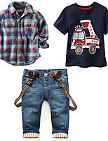 cheap -Kids Boys' Print / Plaid Short Sleeve / Long Sleeve Clothing Set