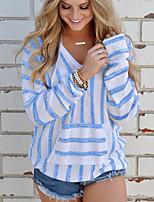 abordables -Mujer Básico Acordonado Camiseta A Rayas