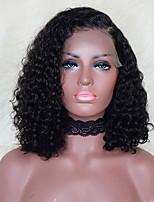 cheap -Remy Human Hair Lace Front Wig Wig Brazilian Hair / Water Wave Curly Bob Haircut 130% Density With Baby Hair / Natural Hairline / African American Wig Women's Short Human Hair Lace Wig