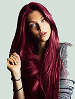 cheap -Synthetic Lace Front Wig Straight Burgundy Middle Part Synthetic Hair Cosplay / Heat Resistant / Women Burgundy Wig Women's Long Lace Front / Yes / Natural Hairline