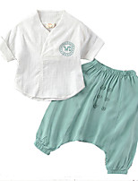 cheap -Toddler Unisex Solid Colored / Print Short Sleeve Clothing Set