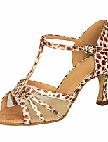 cheap -Women's Latin Shoes Satin Heel Slim High Heel Dance Shoes Leopard / Performance / Leather / Practice