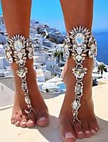 abordables -Chaîne épaisse Sandales Pieds Nus - Imitation Diamant Européen, Bikini Or / Argent Pour Quotidien / Bikini / Femme