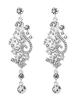cheap -Women's Cubic Zirconia Long Drop Earrings - Sterling Silver Drop, Flower Classic, Elegant Silver For Wedding / Evening Party