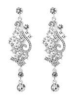 abordables -Mujer Zirconia Cúbica Largo Pendientes colgantes - Plata de ley Gota, Flor Clásico, Elegante Plata Para Boda / Fiesta de Noche