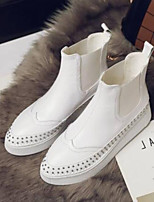cheap -Women's Shoes Nappa Leather Fall & Winter Comfort Boots Flat Heel Closed Toe Mid-Calf Boots White / Red