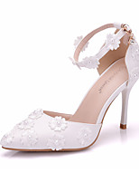cheap -Women's Shoes PU(Polyurethane) Spring & Summer Basic Pump Wedding Shoes Stiletto Heel Pointed Toe Pearl / Satin Flower / Buckle White