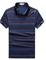 cheap -Men's Cotton Polo - Striped Shirt Collar / Short Sleeve